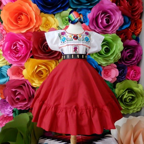 Beautiful Frida Kahlo style boho hippie KID coco theme  5 de mayo wedding 60cm Mexican black SKIRT ONLY day of the dead Handmade