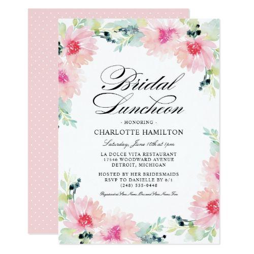 Bridal Luncheon Invitations Daisy Watercolor Pinterest Bridal