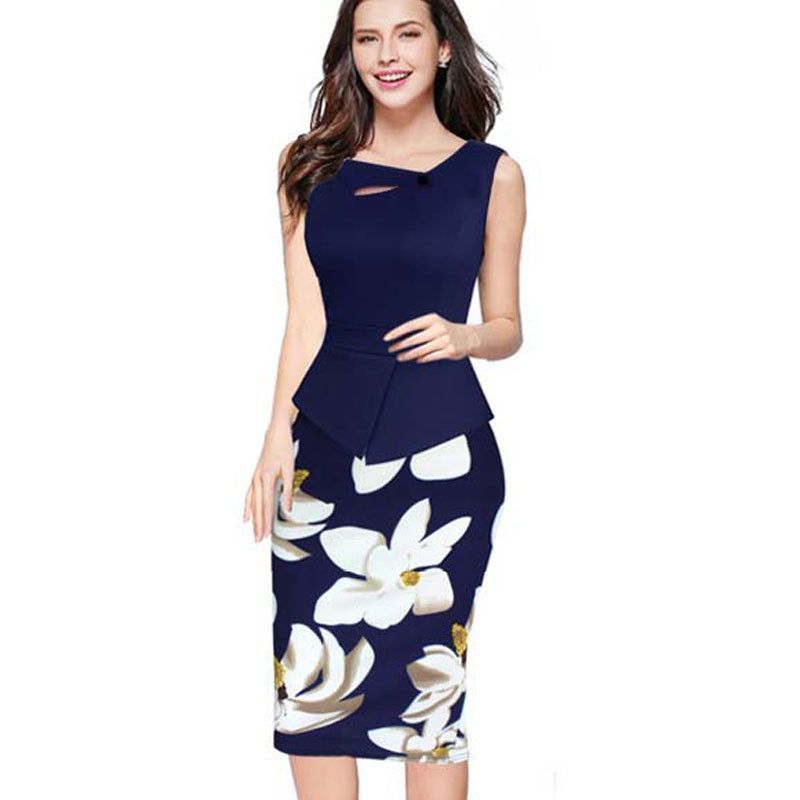 4d5b6efc5989b Floral Print Patchwork Button Sleeveless Bodycon Dress in 2019 ...