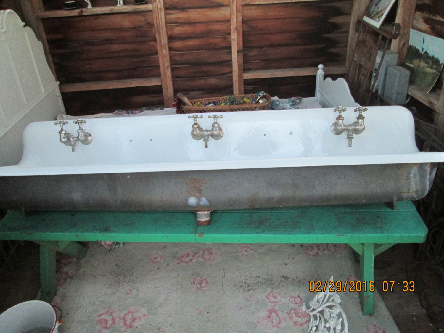 Vintage Cast Iron Farm Sink 6ft Long Trough / Industrial Gang Sink!  Sparkling Mint Condition. Great History. Perfect For Home Or Restaurant. By  ...