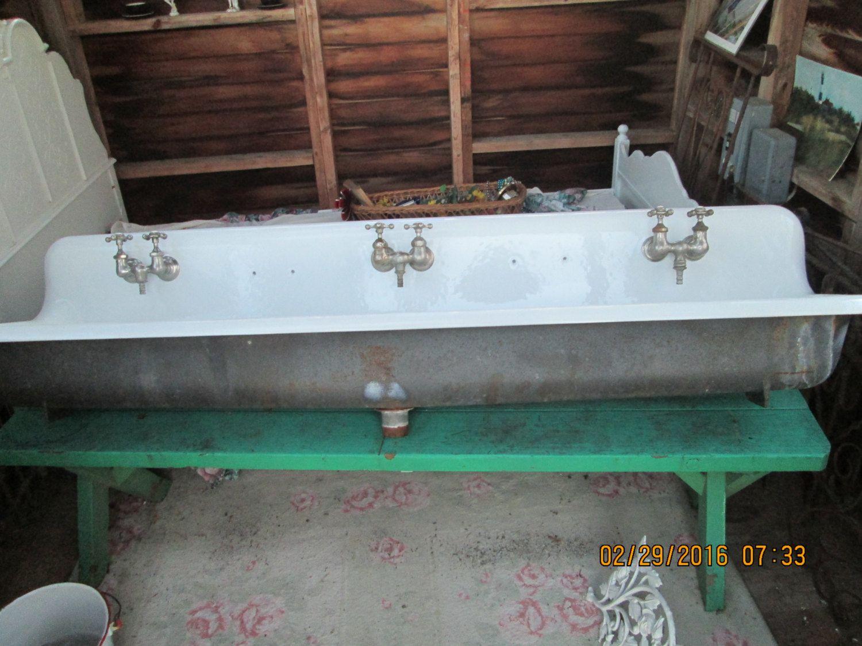 Vintage Cast Iron Farm Sink 6ft Long Trough Industrial Gang Sink