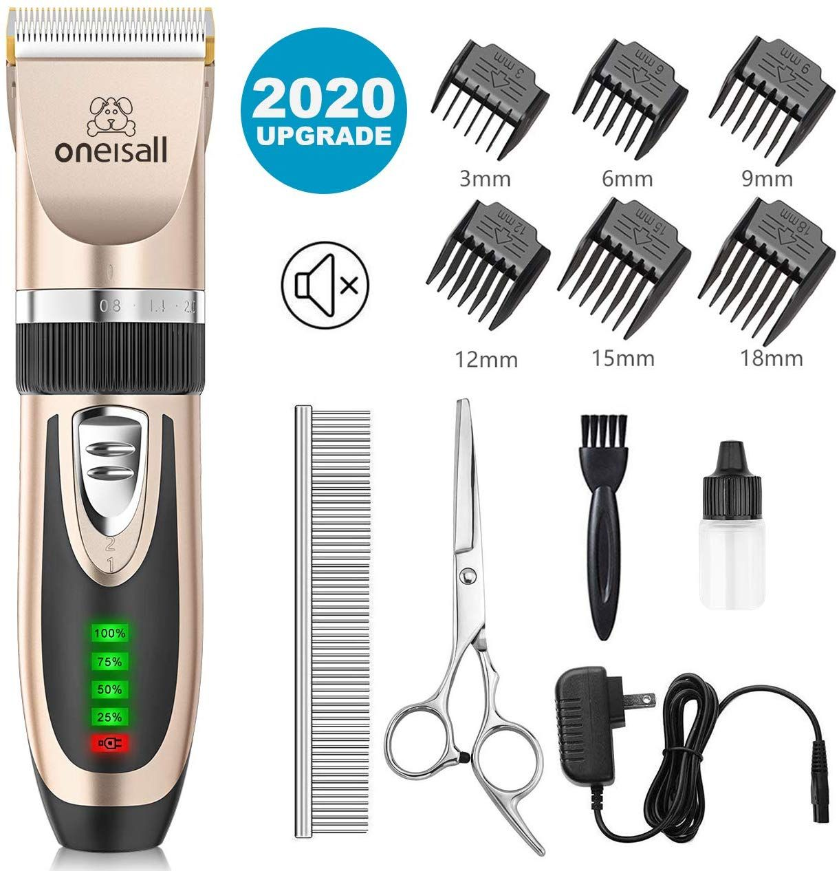 Oneisall Dog Clippers Low Noise 2 Speed Quiet Dog Grooming Kit Rechargeable Cordless Pet Hair Clipper Trimmer Shaver Fo In 2020 Grooming Kit Dog Grooming Dog Clippers