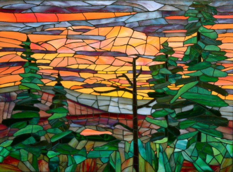 Quot Salmon Sunset Quot 2010 Stained Glass Really Like The Trees Stained Glass Mosaic Art Glass