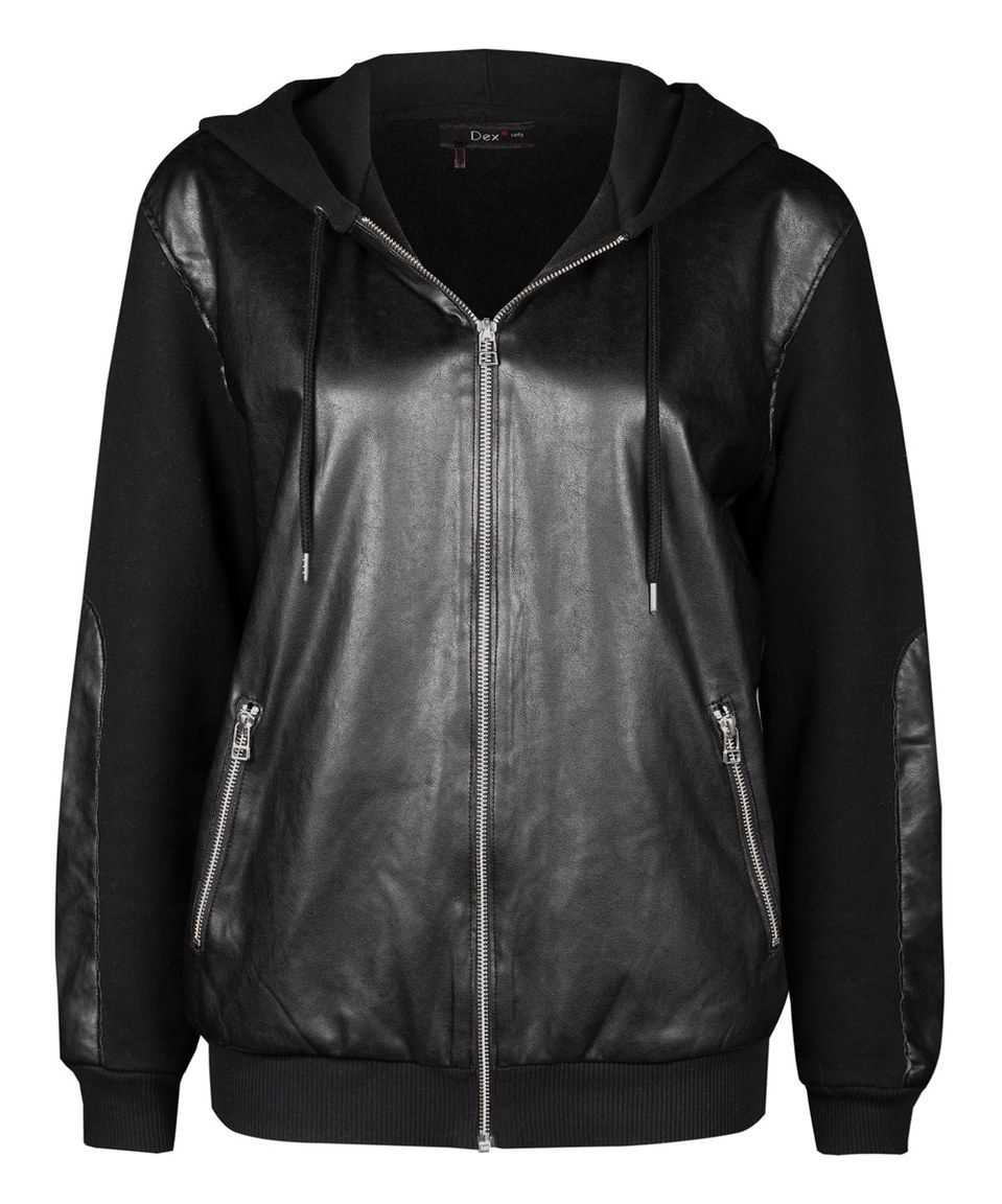 10bf06423 Look at this  zulilyfind! Black Faux Leather Contrast Zip-Up Hoodie ...