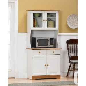 White Microwave Cabinet With Hutch | Ameriwood 4560 Kitchen Cabinet With  Glass Door Hutch: 4560
