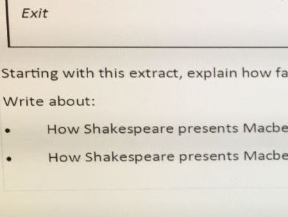 Macbeth AQA (new spec.2017) question with model answer and ...