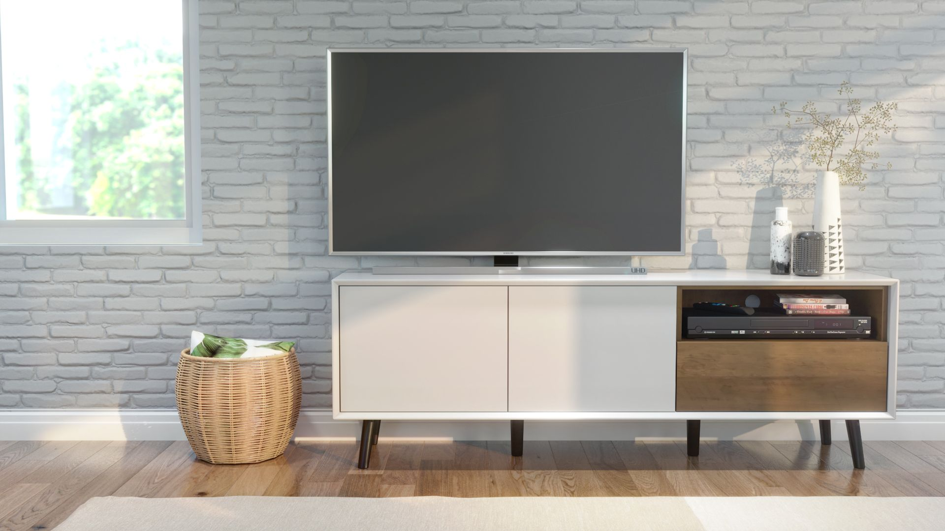Alga collection / White & Walnut Brown designtvspace