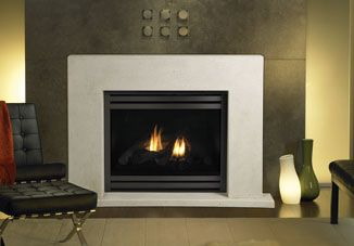 Gas fireplace and Cast stone fireplace