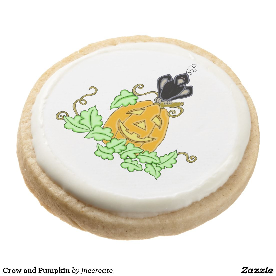 Crow and Pumpkin Round Premium Shortbread Cookie