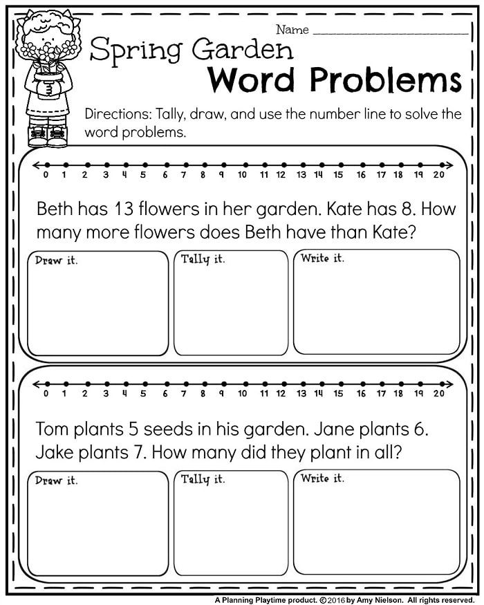 May First Grade Worksheets For Spring Planning Playtime First Grade Worksheets Addition Words Word Problems Kindergarten
