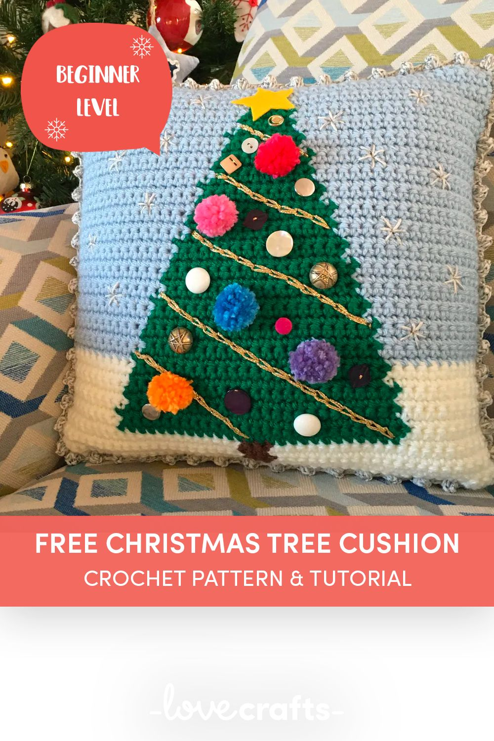 Crochet A Christmas Tree Cushion Lovecrafts In 2020 Crochet Coaster Pattern Crochet Christmas Trees Christmas Crafts