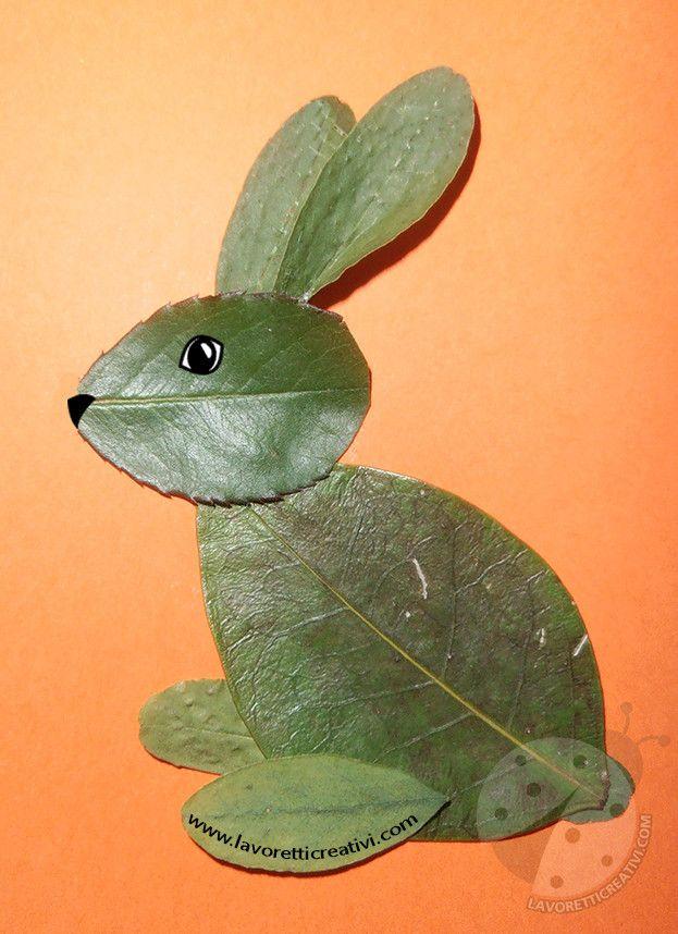 Animali con foglie scuola primaria Coniglio con foglie - Lavoretti Creativi