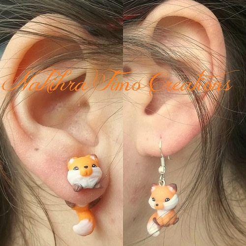 Cute Fox Earrings Polymer Clay