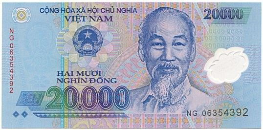 Vietnamese Dong Exchange Rate Showing