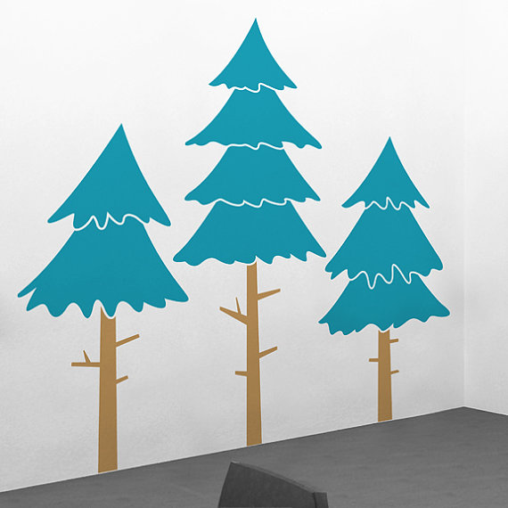 Large Alpine Pine Tree Wall Decals - 76\