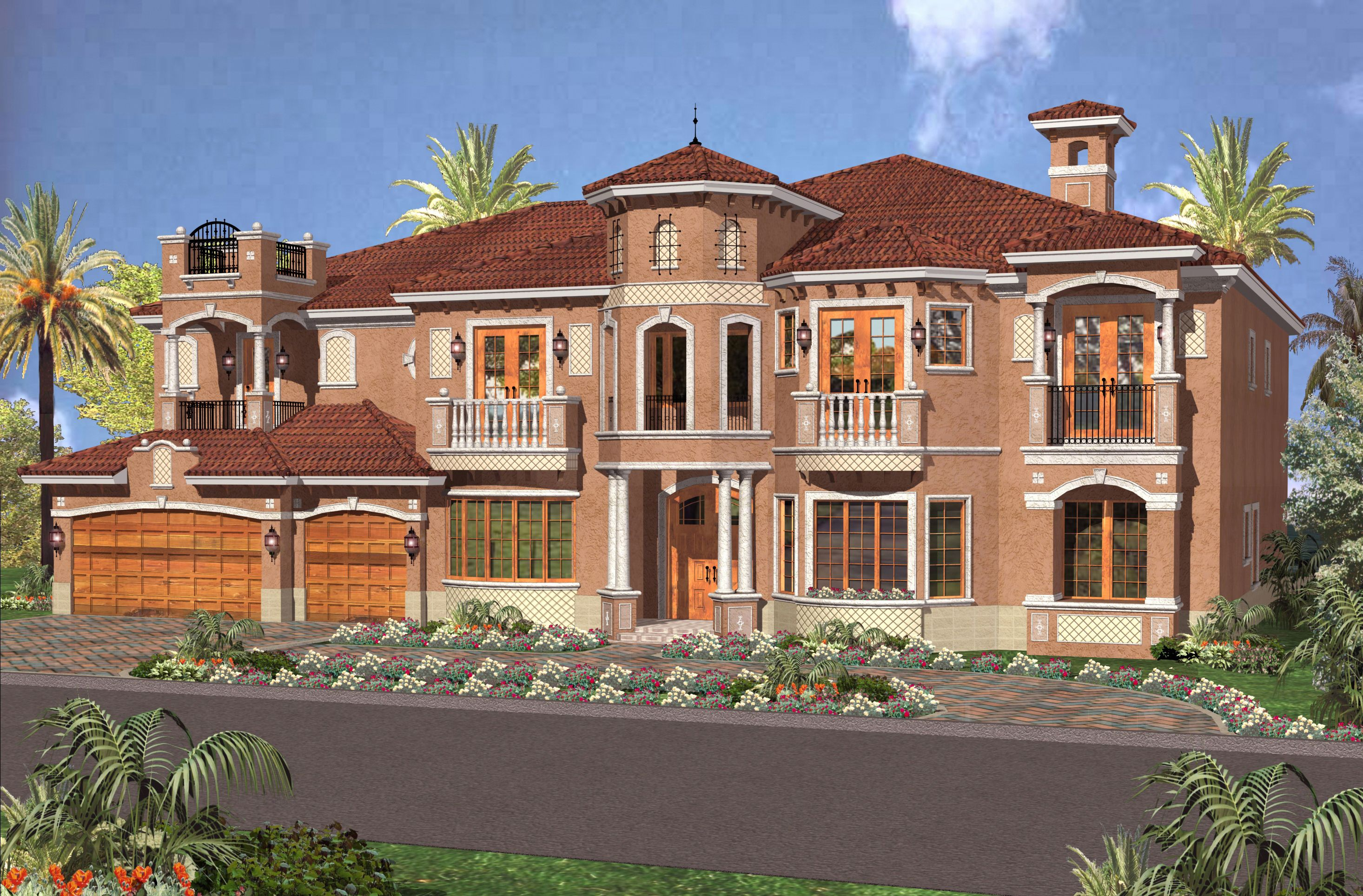 Two Story Luxury Mediterranean Home Plan   32066AA | Florida, Mediterranean,  Luxury, Photo Gallery, 2nd Floor Master Suite, CAD Available, In Law Suite,  ...