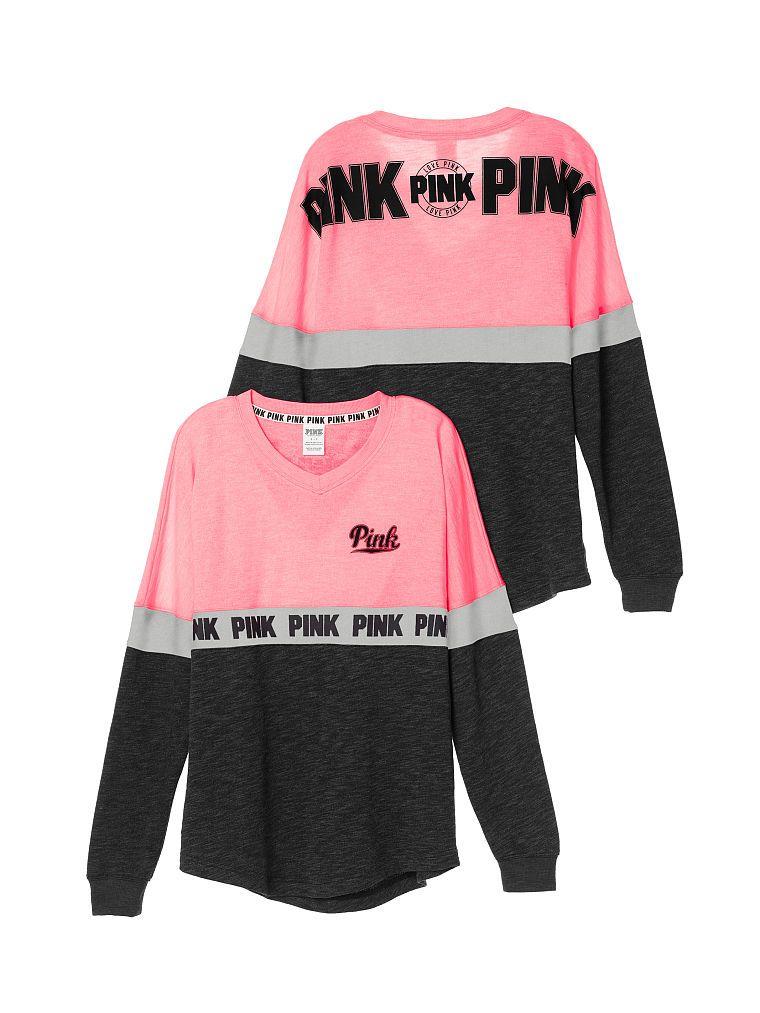 V Neck Varsity Crew Pink Victoria S Secret Fabulous