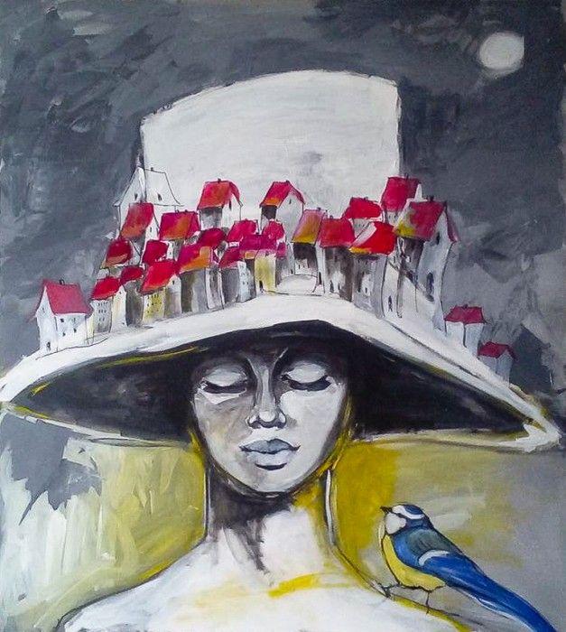 """""""KOBIETA JEST SZYJĄ ŚWIATA"""" obraz namalowany farbami akrylowymi na płótnie o wymiarach 100x90cm. Obraz naciągnięty na blejtram, ma zamalowane boki, sygnowany."""