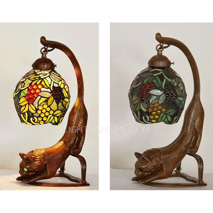 Antique Tiffany Lamp Has Stained Glass Shade That Is Good At Multi Color  Beauty, Not Fade The Color. Grape Cat Shaped Is Made Of Alloy Material, ...