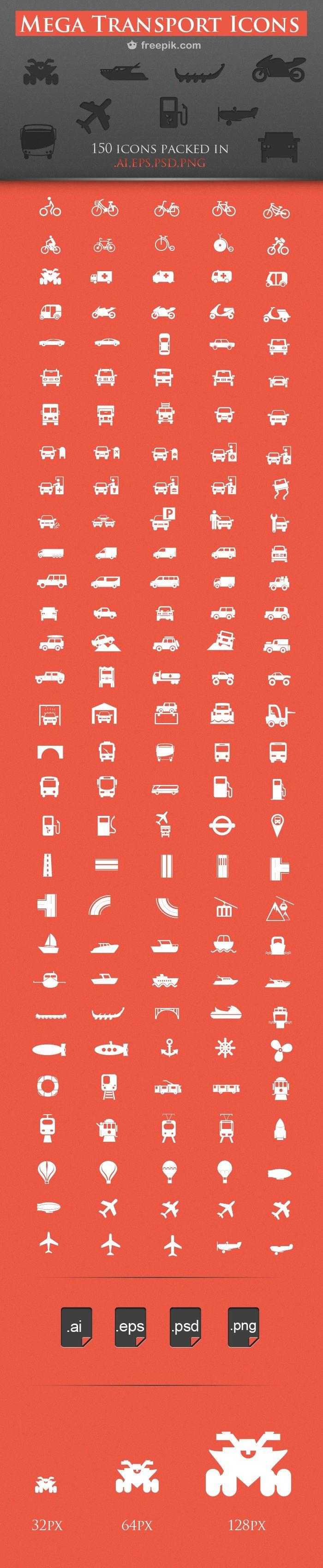 150 RoyaltyFree Transport Icons Pack for Download