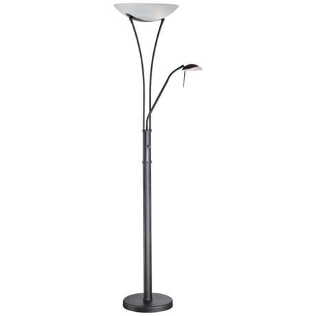 Lite Source Avington Black Reading Light Torchiere Lamp W9898