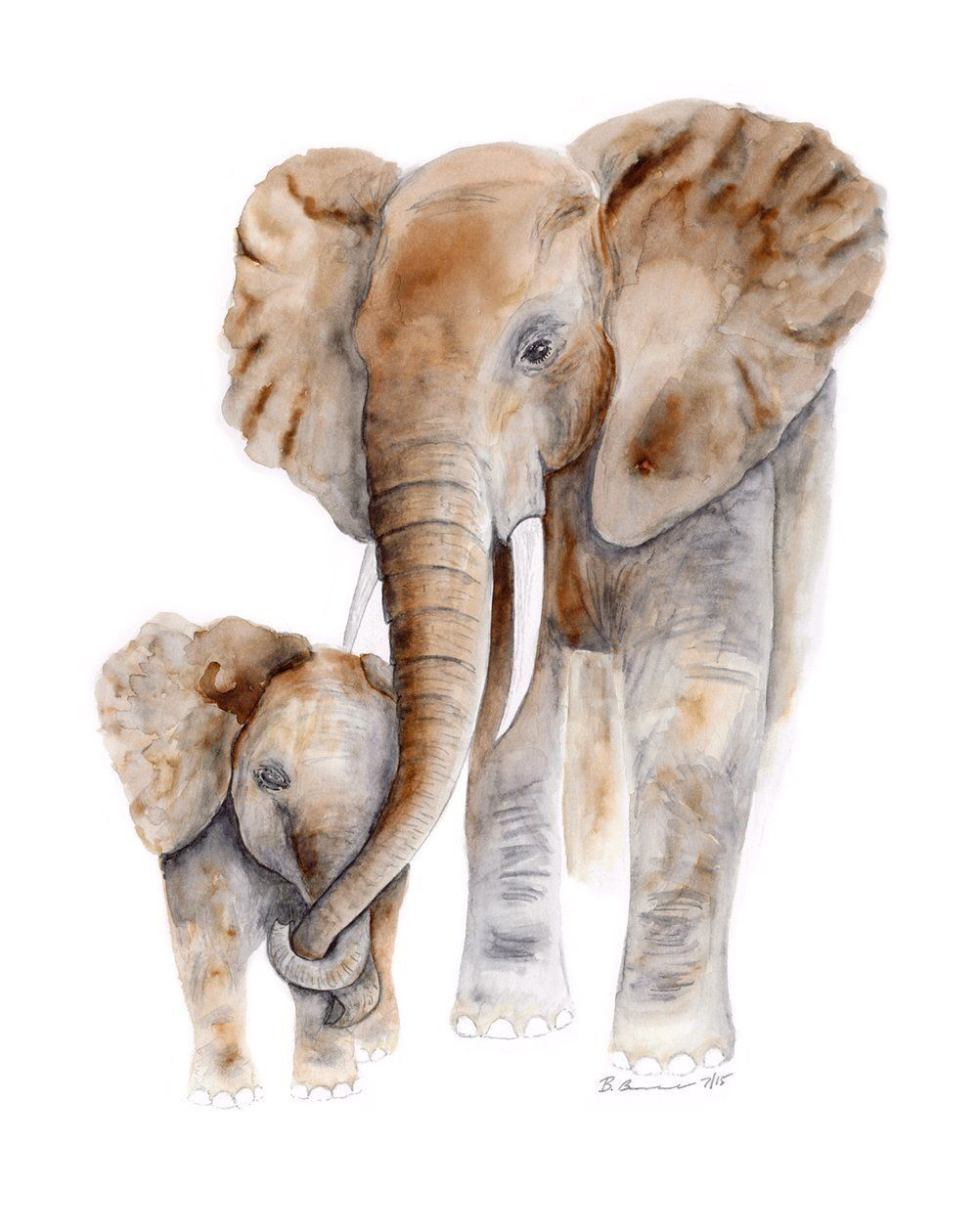 Mom And Baby Elephant Watercolor Art Nursery Wall Art Various