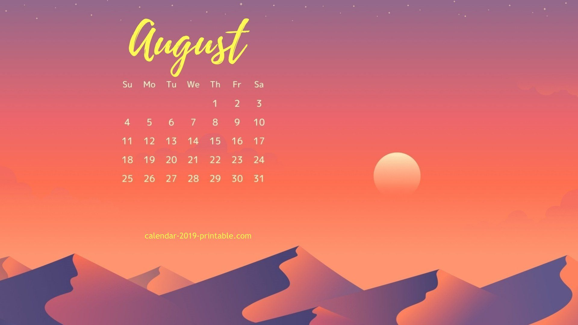 august 2019 calendar wallpaper Calendar wallpaper