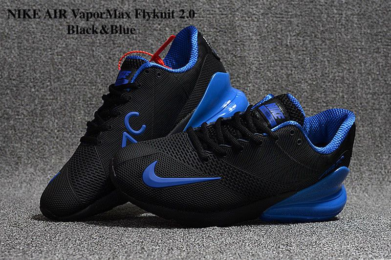 956cdd38ca54c NIKE AIR VaporMax Flyknit 2.0 2018 MEN Black and Blue Running Trainers Shoes   fashion