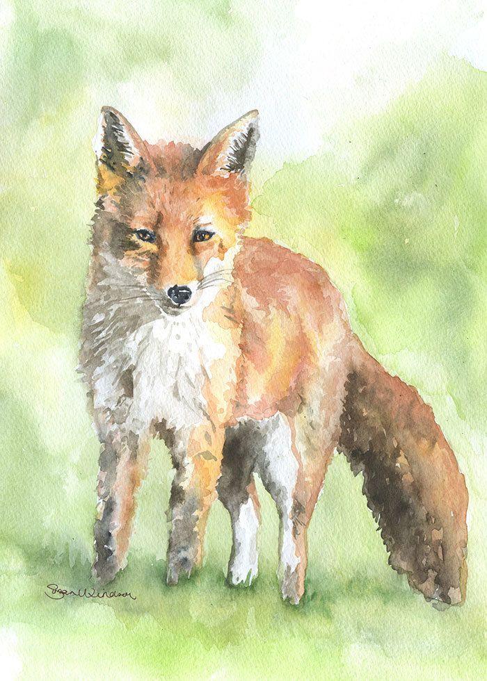 Red Fox Watercolor Painting Fine Art Print  11 00 Via Etsy