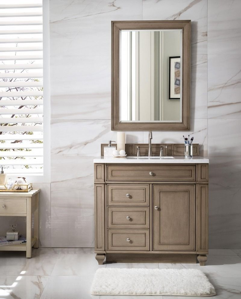 "Bristol 5"" Single Sink Bathroom Vanity Cabinet - Whitewashed"