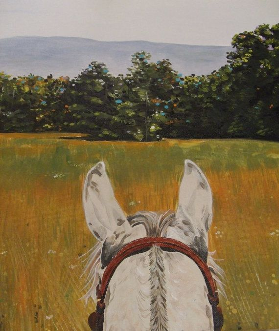 Horse painting print view through horse ears Christian art  Rejoice