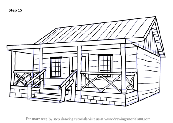 How To Draw A Log Cabin House House Sketch House Drawing
