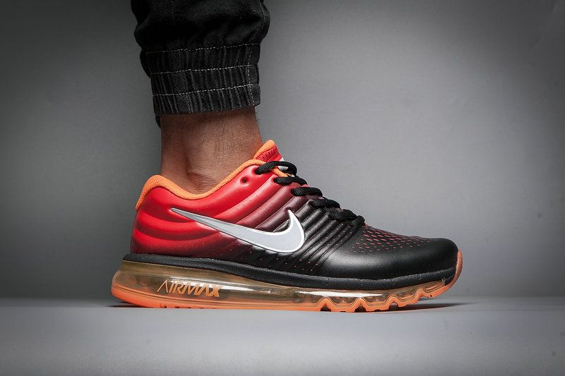 100% authentic 73b9f 24804 Leather Nike Air Max 2017 Gradual Change Orange Black White Tick Running  Men Women