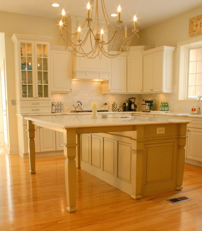Kitchen Island Extension ivory kitchen with glazed khaki island. 768×879 pixels