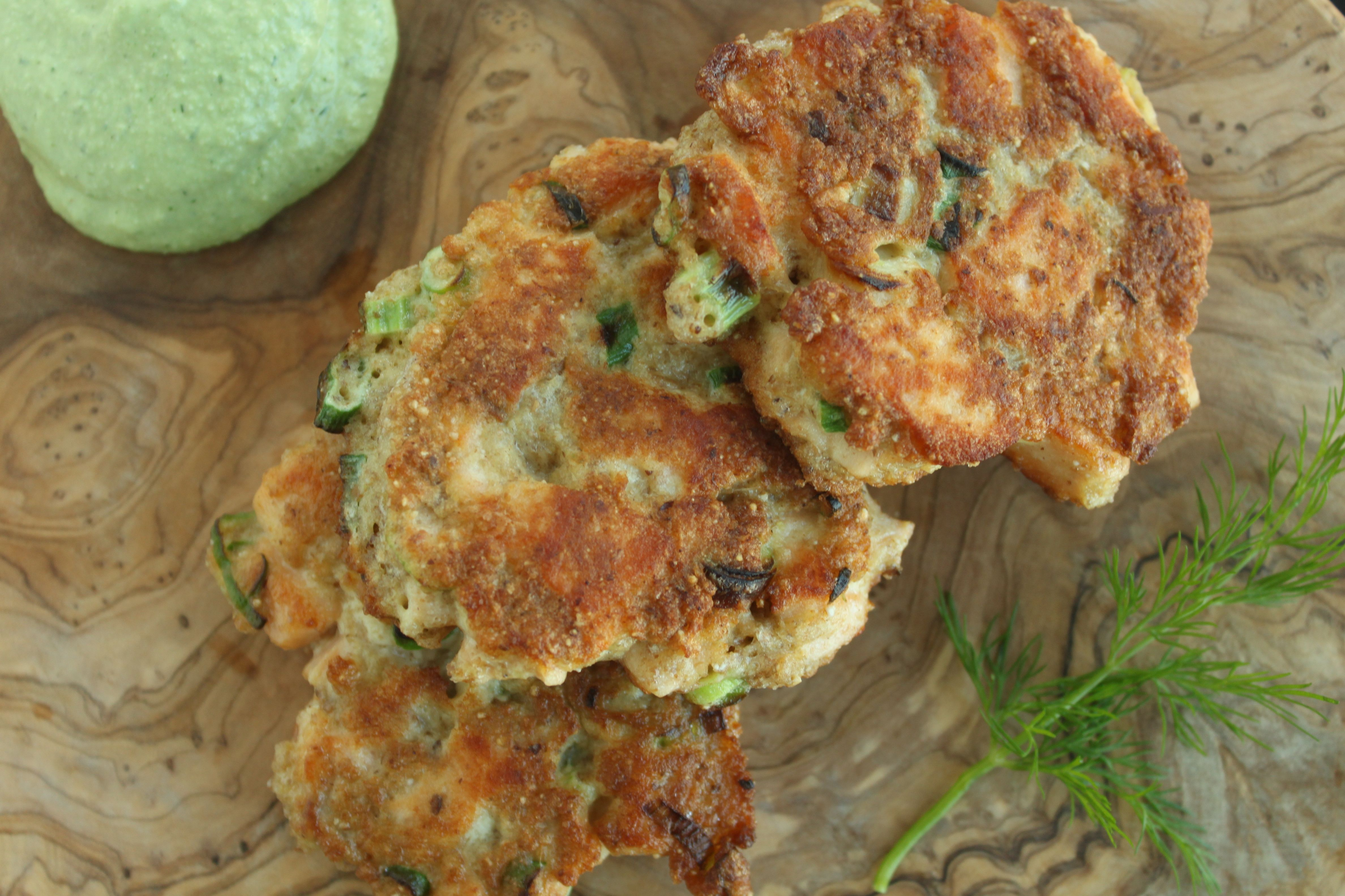 Salmon Cakes are a delicious and easy way to get your daily omega 3 intake. This recipe uses fresh salmon, not canned, cut into chunks with a creamy dairy free dill sauce. http://www.outtolunchcreations.com/recipes/salmon-cakes-with-creamy-dill-sauce/ #DairyFree #GlutenFree #NightshadeFree #Salmon #Seafood