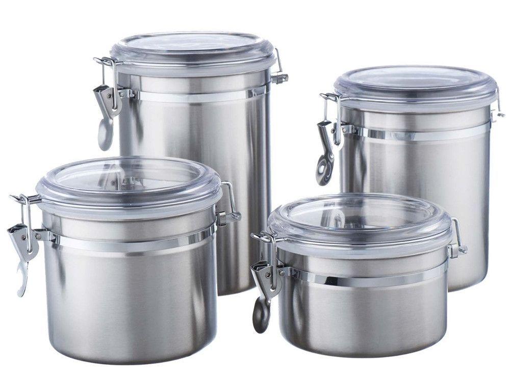 Vonshef Clip Top Jars 4 Piece Coffee Tea Storage Canister