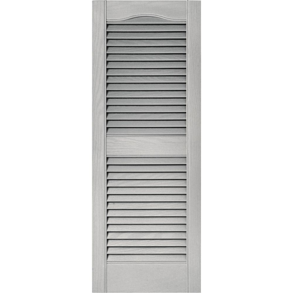 Builders Edge 15 In X 39 In Louvered Vinyl Exterior Shutters Pair In 030 Paintable 010140039030 The Home Depot Shutters Exterior Vinyl Exterior Builders Edge