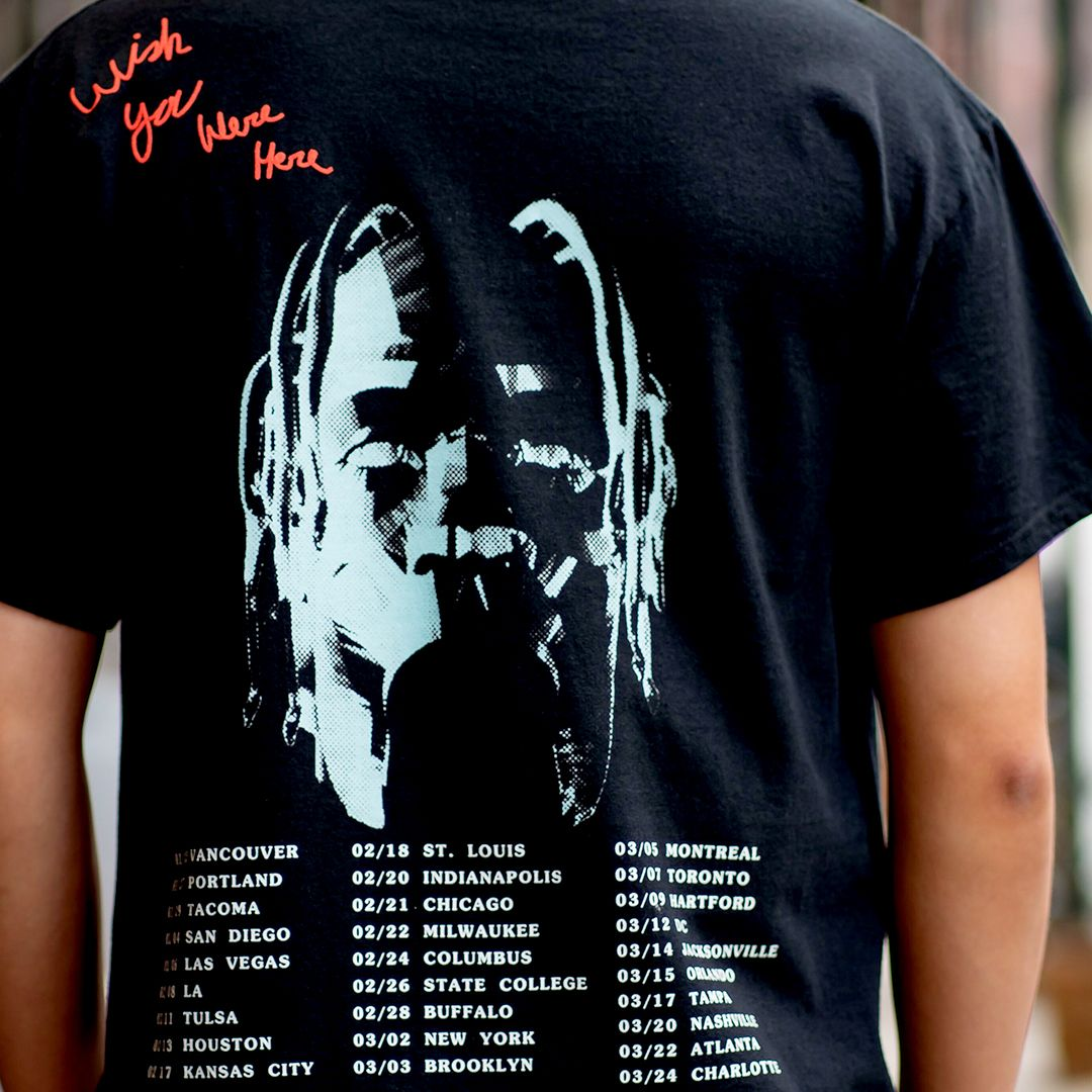 Limited Travis Scott rodeo tour merch GILDAN washed black t shirt sz.