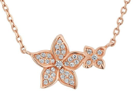 White Topaz Flower Pendant Necklace 1/3 Carat (ctw) in Sterling Silver with Rose Gold Plating