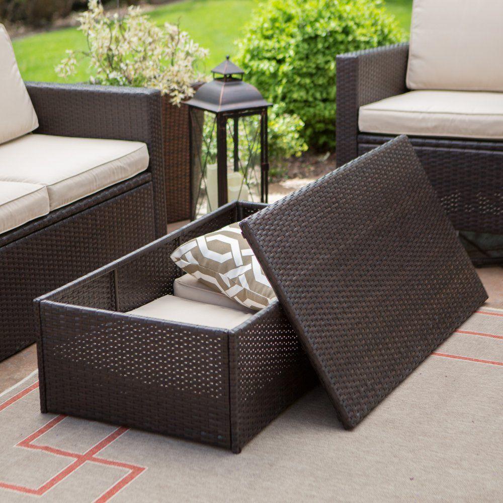 Luxury Outdoor Garden Rattan Rectangular Coffee Table Footstool