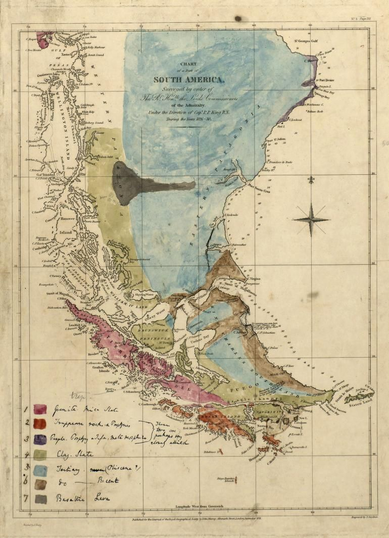 Geological Map Of South America By Charles Darwin C Maps - Early us geological mapping