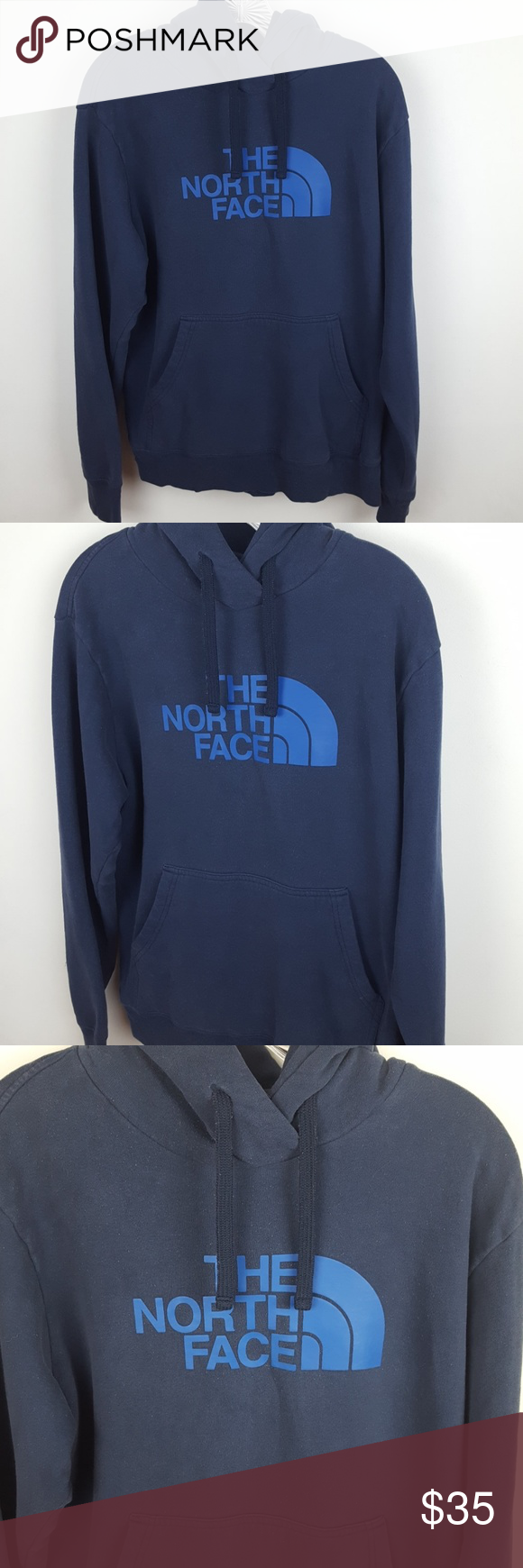 The North Face Hoodie The North Face Hoodie. Size Medium. Does have some pilling, but still a fantastic hoodie. Navy blue. Has The North Face in bold lettering on the front. More of a relaxed and loose fit. Nice quality! Would be an awesome hoodie to have for this winter.  #0616 ◾Length 26.5