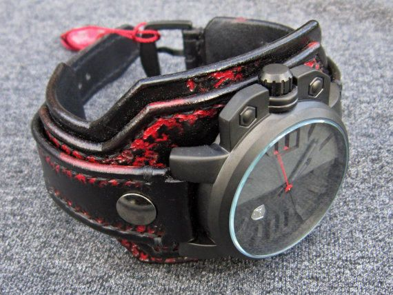 Salmon Shark 3D leather watch black and red from loversbracelets on Etsy. Shop more products from loversbracelets on Etsy on Wanelo.