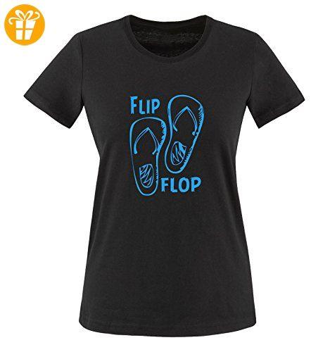 Comedy Shirts - FLIP FLOP - SCHUHE - Damen T-Shirt - Schwarz / Blau Gr. L - Shirts mit spruch (*Partner-Link)