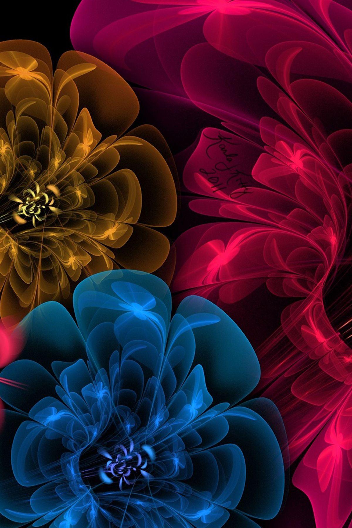 Digital Shine Colors Flowers In Black Hd Mobile Wallpaper Abstract Digital Shine Col Mobile Wallpaper Mobile Wallpaper Android Beautiful Flowers Wallpapers