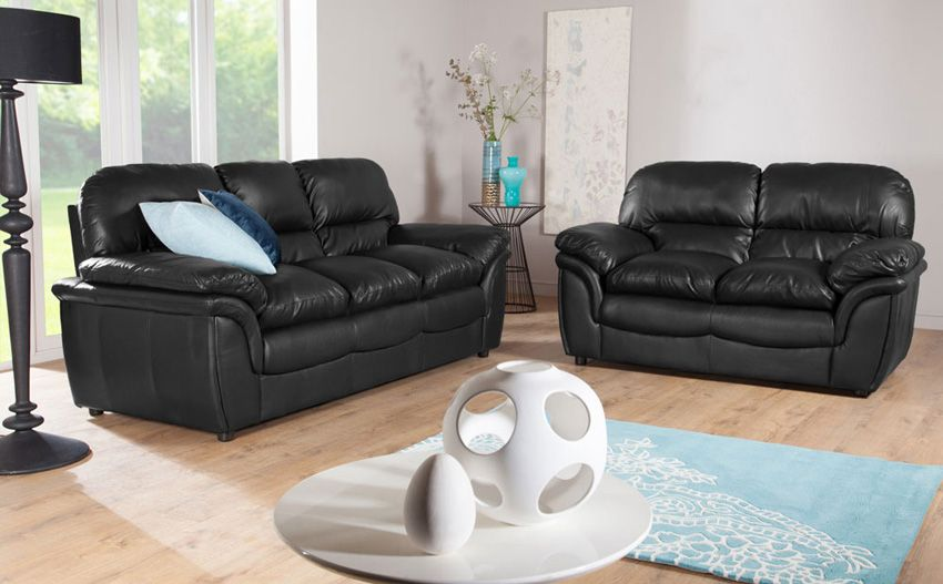 Rochester Black Leather Sofa
