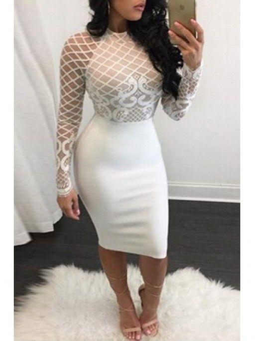 07be1fb545b White Club Dress - Mesh Patchwork White Knee Length Dress - Club Dresses  Party Dresses Sexy Dresses