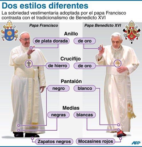 Benedicto XVI y Francisco, dos estilos diferentes.