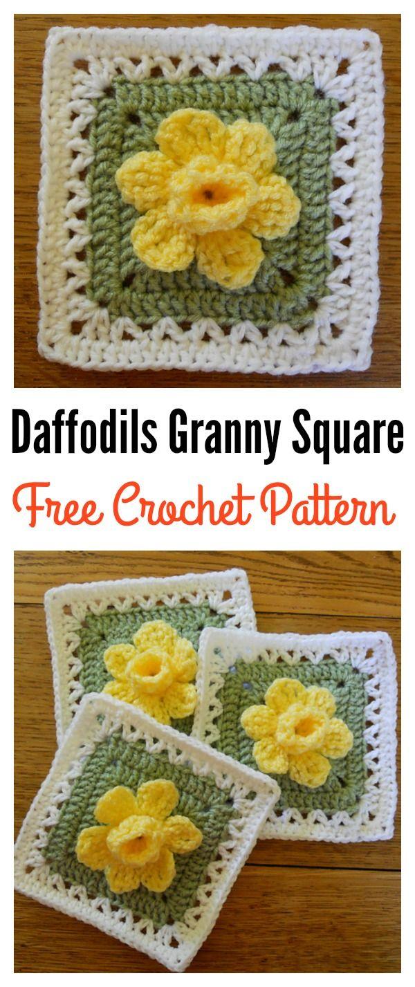 Free 3D Daffodils Granny Square Crochet Pattern   Patrón de ...