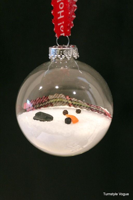 Melted snowman ornaments by turnstyle vogue 3 for Crafts for clear glass ornament balls